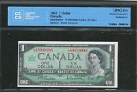 1967 $1 BANK OF CANADA  FP REPLACEMENT UNC 64 CCCS F/P 8030998 BC 45BA I BV $200