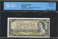 1954 $20 BANK OF CANADA  AE A/E REPLACEMENT NOTE CCCS UNC 64. BC 41BA BV $985