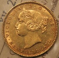 1881 NEWFOUNDLAND $2 GOLD ICCS AU 55. OLD CERT XV 220.  DATE & CONDITION.