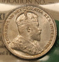 1907 CANADA SILVER 25 CENTS ICCS MS 64 NEAR GEM UNCIRCULATED   WK 188
