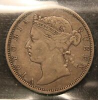 1873 STRAITS SETTLEMENTS SILVER 20 CENTS VF 20.  KEY DATE COIN. MALAYSIA