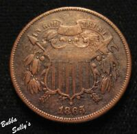 1865 TWO CENT PIECE <> FS 02 1865 1302  002.7  <> FANCY 5 <> REPUNCHED DATE