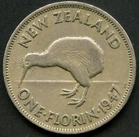 1947 NEW ZEALAND 1 FLORIN COIN