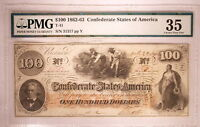 1862  63  T41  $100 ONE HUNDRED DOLLARS HOER CSA CONFEDERATE PMG 35   W/ STAMPS