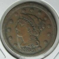 1849 UNITED STATES LARGE CENT BRAIDED HAIR