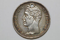 GRADES NET GOOD 1828 A HOLED FRANCE 1 FRANC SILVER COIN KM 724.1  FRAN162
