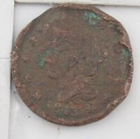 1843 BRAIDED HAIR LARGE CENT    CONDITION  Z54