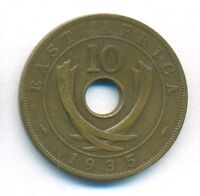 BRITISH EAST AFRICA COIN 10 CENTS 1935 BRONZE KM 19 VF