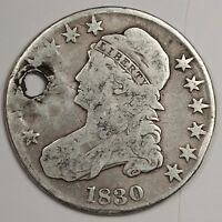 1830 BUST HALF.  V.G. DETAIL HOLED.  117727