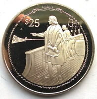 BRITISH VIRGIN 1992 COLUMBUS ABOARD SHIP 25 DOLLARS SILVER COIN PROOF