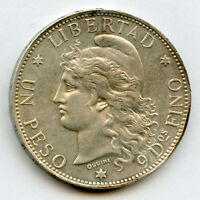 ARGENTINA 1882 ISSUE UN PESO LIBERTAD  SILVER CROWN LUSTER NICE CHOICE AU .