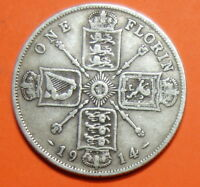 GREAT BRITAIN  FLORIN. 1914   0.925.  SILVER.