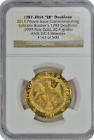 1787 2014 EB DOUBLOON .9999 GOLD NGC CERTIFIED RON LANDIS ANA 143  I LOVE YOU