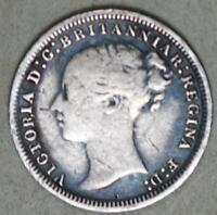 GREAT BRITAIN 1874 3 PENCE SILVER COIN