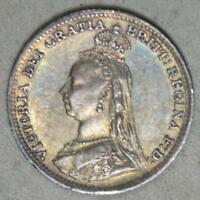 GREAT BRITAIN 1891 3 PENCE SILVER COIN