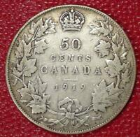1919 CANADA SILVER 50 CENTS NICE CANADIAN COIN VG C216