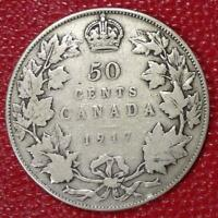 1917 CANADA SILVER 50CENTS NICE CANADIAN COIN VG  C213