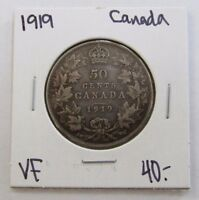 1919 FINE CANADA FIFTY CENT SILVER COIN