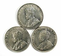 LOT OF 3 1927 1929 1934 CANADA 5C NICKELS XF    AU ALMOST UNC 99221 R
