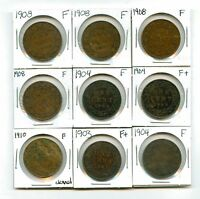 LOT OF 15 1903   1910 CANADA COPPER LARGE CENTS F FINE   F  FINE  99096 R