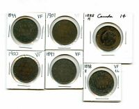 LOT OF 6 1882 & 1897   1901 CANADA COPPER QUEEN VICTORIA LARGE CENTS 99087 R