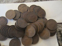 ROLL OF 1949 CANADA SMALL CENTS  50 COINS . SEMI KEY