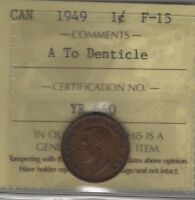 1949 A TO DENT CANADA SMALL CENT COIN.  ONE ICCS CERTIFIED