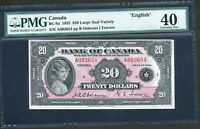 Click now to see the BUY IT NOW Price! 1935 $20 BANK OF CANADA PMG EF 40 CERTIFIED.  LARGE SEAL. BC 9A. BV $6 000