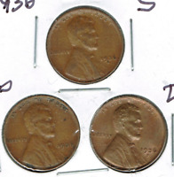1936-DPS CIRCULATED CIRCULATION STRIKE COPPER ONE CENT COINS