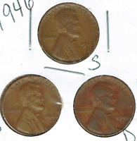 1946-DPS CIRCULATED CIRCULATION STRIKE COPPER ONE CENT COINS