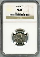 1943-S LINCOLN STEEL CENT PENNY NGC MINT STATE 66 CERTIFIED - SAN FRANCISCO MINT AQ437