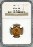 1945-S LINCOLN WHEAT CENT PENNY NGC MINT STATE 66 RD CERTIFIED - SAN FRANCISCO AQ442
