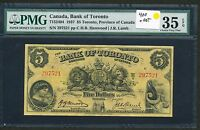 1937 BANK OF TORONTO $5 FIVE DOLLARS PMG VF35 EPQ. 715 24 04 CHARTER NOTE