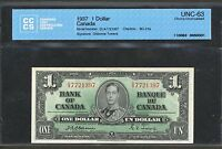 1937 $1 BANK OF CANADA OSBORNE TOWERS CCCS CHOICE UNC 63 BC 21A  SIGS.