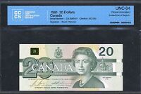 1991 BANK OF CANADA $20 MAJOR PRINTING ERROR. CCCS CHOICE UNC 64 BC 58B.