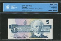 1986 $5 BANK OF CANADA REPLACEMENT ENX BLUE BPN CR/BO CCCS GEM UNC 65 BV $275