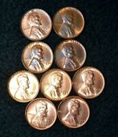 1936 1937 1938 1939 ..1954 RB BU UNC LINCOLN CENT LOT OF 9 CHOICE RED & RB CENTS