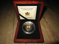 2001 HOLOGRAM GOLD MAPLE LEAF 1/4 OZ .9999 FINE CANADA   WITH COA & DISPLAY CASE