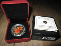 2007 SUGAR MAPLE LEAF IN ORANGE 1 OZ .9999 SILVER COLORIZED RCM BOX   COA NO TAX