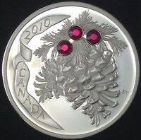 2010 $20 RUBY HOLIDAY PINE CONES 1 OZ SILVER SWAROVSKI CRYSTAL ELEMENTS CANADA