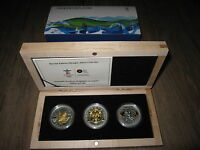 2008 2009 2010 SPECIAL EDITION VAN OLYMPICS 3X GOLD PLATED SILVER MAPLE LEAF SET