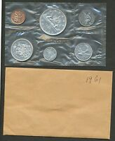 1961 CANADA SILVER PROOFLIKE MINT PL SET   6 COINS WITH ORIGINAL ENVELOPE.