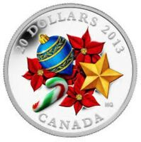 2013 CANADA $20 CANDY CANE HOLIDAY 1 OZ .9999 SILVER VENETIAN MURANO GLASS COIN