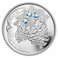 2010 $20 MOONLIGHT HOLIDAY PINECONES 1 OZ SILVER COIN SWAROVSKI ELEMENTS CANADA