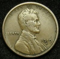 1919 S LINCOLN WHEAT CENT PENNY VG  GOOD B02