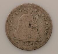 1854-P SEATED LIBERTY SILVER HALF DIME G07