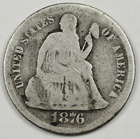 1876-S  SEATED LIBERTY DIME.  CIRCULATED.  91076