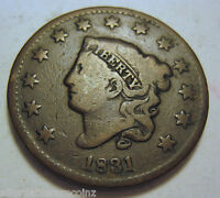 1831 EARLY COPPER LARGE CENT 107D