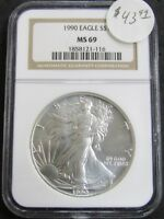 1990 AMERICAN SILVER EAGLE 1OZ .999 FINE SILVER COIN NGC MINT STATE 69