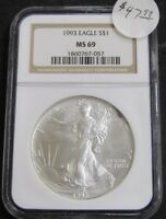 1993 AMERICAN SILVER EAGLE 1OZ .999 FINE SILVER COIN NGC MINT STATE 69